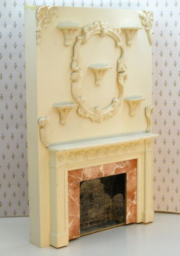Ornate Cast Resin Fireplace Mantle & Chimney Breast Artisan Dollhouse Miniature