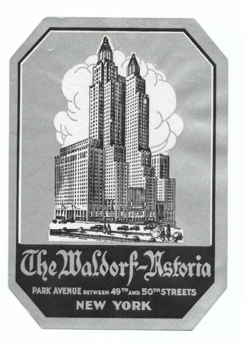 Authentic Vintage Luggage Label ~ THE WALDORF-ASTORIA ~ Park Avenue, New York