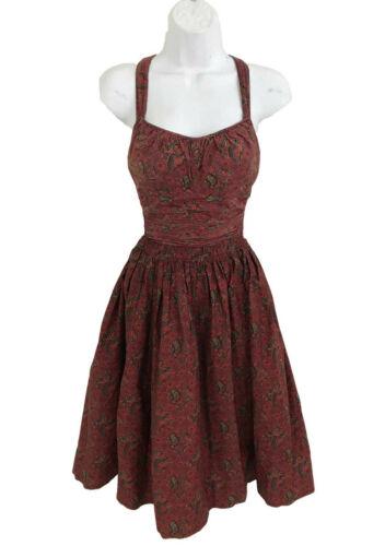Vtg 50s Jantzen Cotton Swimsuit & Skirt Set 2-pc Red Paisley Print Pin Up sz 4