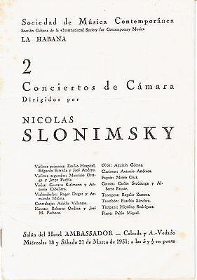 RARE 1931 HAVANA Concert Program MODERN AMERICAN MUSIC - RUGGLES, IVES, COWELL