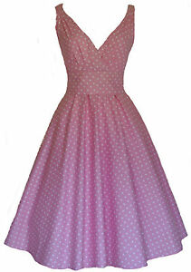 Ladies-40s-50s-Vintage-Retro-Style-Cotton-Pink-Polka-Dot-Party-Tea-Dress-New