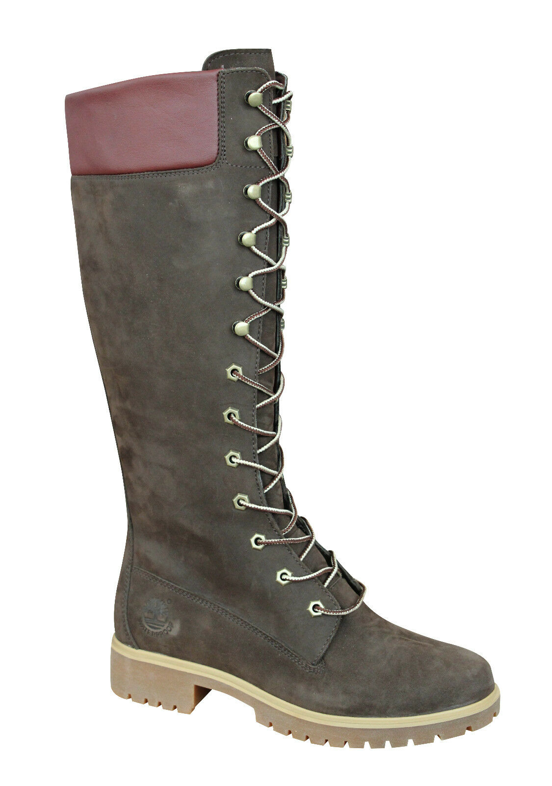 Details zu Timberland Womens Leather 14 inch Knee High Lace Up Boots Brown 3753R B8C