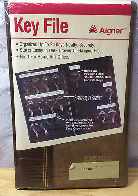 1985 Aigner Leather Key Keeper Index File - Factory Sealed