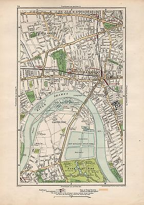 1923 LONDON STREET MAP - STARCH GREEN,HAMMERSMITH,SHEPHERDS BUSH,CASTELNAU,BARN
