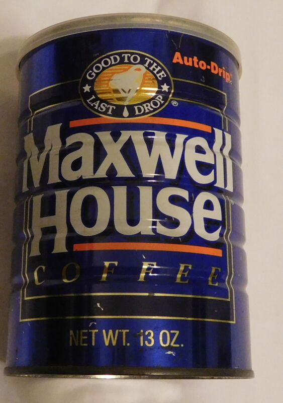 vintage Maxwell House Coffee auto Drip Tin Can 13 oz size EMPTY with lid