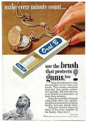 Vintage 1961 Oral B Toothbrush Magazine Print Ad Color Pocket Watch