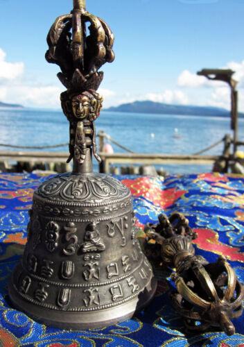 "SUPERIOR TIBETAN BUDDHIST BRONZE 7"" BELL & 8 PRONG DORJE SPECIAL DETAILS & SOUND"