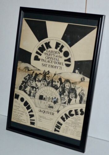 PINK FLOYD 1971 THE FACES GARDEN PARTY PALACE FRAMED PROMO CONCERT POSTER /AD