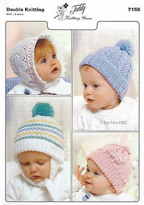 VAT Free KNITTING PATTERN ONLY DK Baby Child Children Hats Bonnet Teddy 7158 New Free Knitting Pattern Baby Hats
