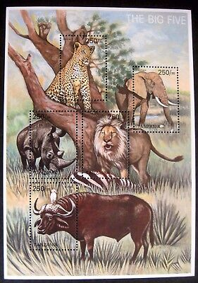 TANZANIA THE BIG FIVE STAMPS SHEET WILD ANIMALS WILDLIFE STAMPS ELEPHANT LION