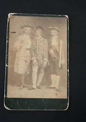 Cabinet Card Antique Photograph 3 Musketeers Costume Men Swords 18th Century 6