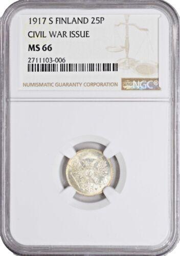 1917 MS66 Finland 25 Pennia KM 19 UNC NGC BRIGHT WHITE SILVER