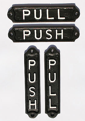 Old Style Metal - OLD VINTAGE STYLE PUSH & PULL DOOR SIGNS - SOLID CAST METAL PUB RESTAURANT CAFE