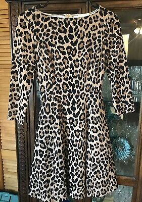 Kate Spade Leopard Pont Exposed Zipper Fit and Flare New With Tags Dress Size 00