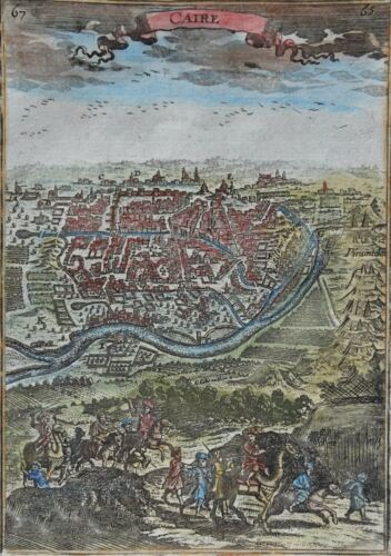 Egypt, Cairo, Pyramids, copper engraved map by Mannesson Mallet, 1683, Caire