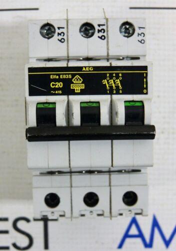 AEG Elfa 83S  C20 Din Rail Circuit Breaker 3 Pole 277/480 volt