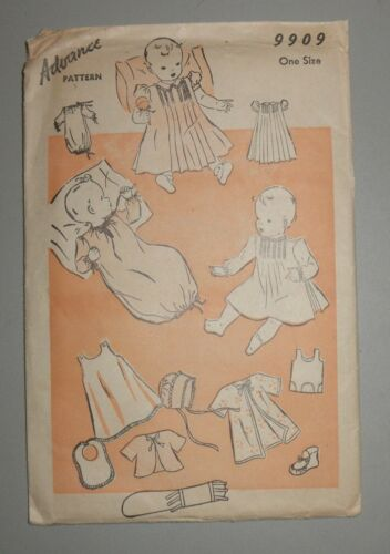 Vintage Advance Sewing  Pattern 9909 Baby Clothes One Size  1930's?