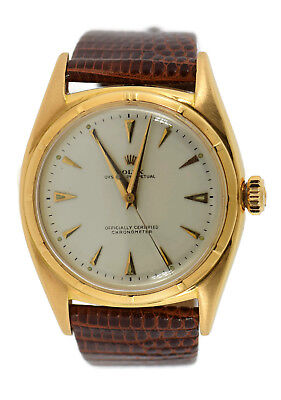 Rolex Oyster Perpetual Bubbleback Chronometer 18K Rose Gold Watch 6029