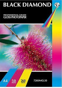 50-Sheets-Black-Diamond-A4-Gloss-Inkjet-Photo-Paper-Quality-Heavyweight-260gsm