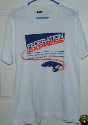 Vintage Star Trek Federation Express Funny T-Shirt Size Large