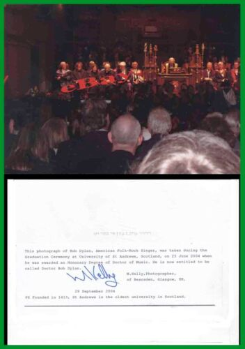 (4) Rare 2004 BOB DYLAN Scottish Doctorate Ceremony PHOTOGRAPHS Photog Signed