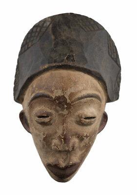 Masquette Lumbo 14 cm Mask Pasport African Gabon Wood Art Primitive 16928
