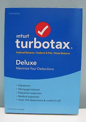 TURBOTAX DELUXE 2016 FEDERAL & STATE , FOR WINDOWS AND MAC , NEW IN BOX