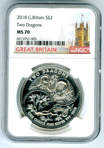 2018 2PD GREAT BRITAIN 1OZ SILVER TWO DRAGONS NGC MS70 RARE