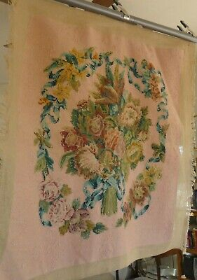 Embroidery Panel Vintage Needlepoint Panel Upholstery Unfinished Embroidery French Boudoir Decor Blue Floral Needlepoint Wool