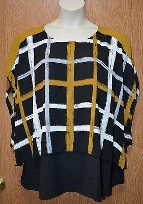 Womens Pretty Plaid Alfani Sleeveless Caped Shirt Size 16W NEW NWT