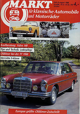 Markt 8/88 1988 Alfa Romeo GTA Lohmann Mercedes 250 S 300 SEL 6,3 Volvo 140 356