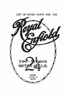 1920's Royal Enfield 2 1/4hp two stroke parts list