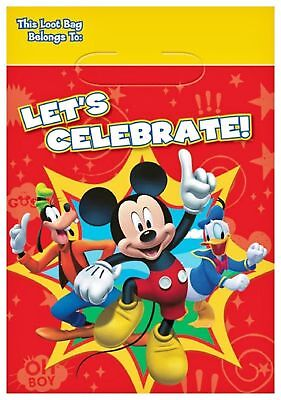 Mickey Mouse Fun and Friends Party Favor Treat Bag 8 Ct Birthday Supplies NEW (Mickey Mouse And Friends Birthday Party Supplies)