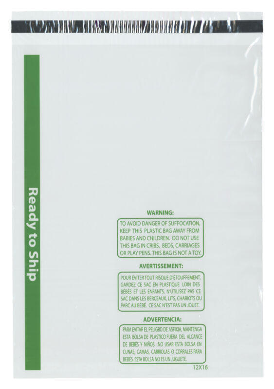 "Plymor Ready to Ship 1.5 Mil Wicketed Plastic Bags, 12"" x 16"" (Case of 1000)"
