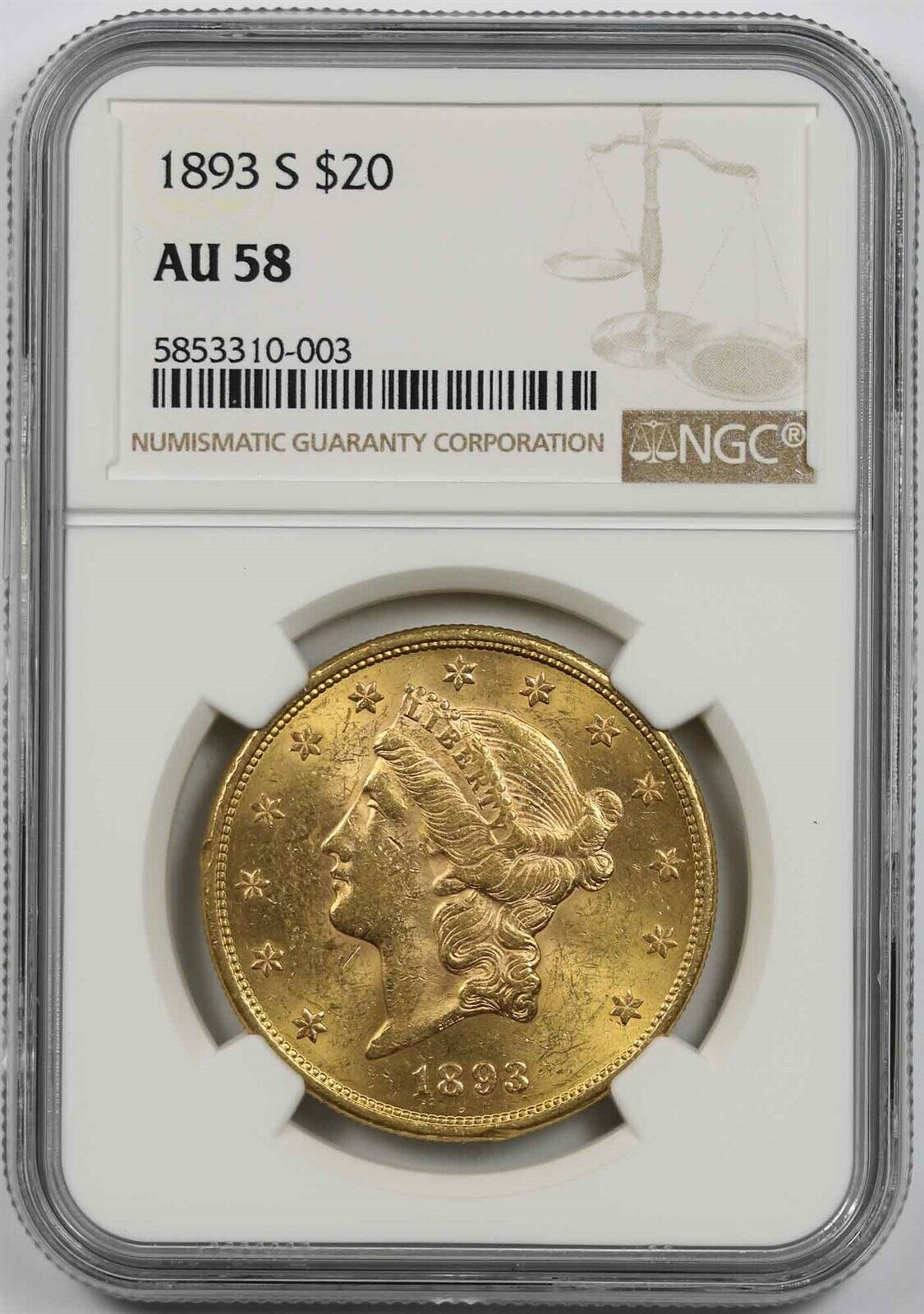 Proof-Like Coin! 1893 • $10 American Gold Eagle Liberty Head • NGC MS61 PL •