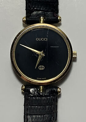 "Gucci Men's Watch Vintage 30mm Black Face - Gold Bezel Needs Repair 8.5"" Band"