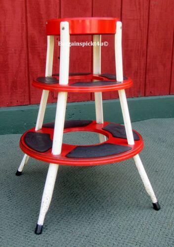 RARE Vintage Mid Century Retro Sputnik TREMBCO STEP ROUND Metal Stool Chair Seat