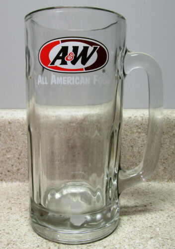 """VINTAGE A&W ROOT BEER """"ALL AMERICAN FOOD"""" HEAVY GLASS DRINKING MUG."""