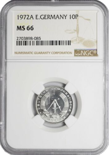 1972 A MS66 East Germany 10 Pfennig UNC NGC KM# 10 Pop 2/3