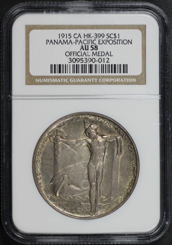 1915 CA HK-399 Silver So-Called $1 Panama-Pacific Expo NGC AU-58