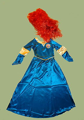 DISNEY´s MERIDA Kleid Kostüm + Perücke Prinzessin 110-116-122-128
