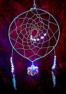 Metal Dream Catcher w/Metal Feathers, Black Beads, Clear Beads, Six Petal Flower (Six Petals Flower Beads)