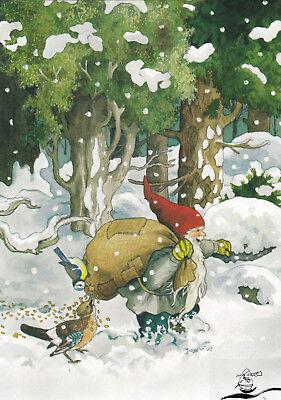 Kunstkarte: Inge Löök - Zwerg und Vögel im Winterwald / Nr. 225