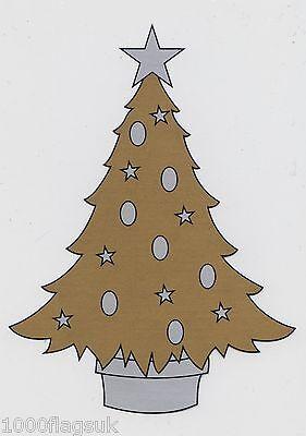 Gold Christmas Tree cc17 Christmas Cling On Vinyl Car Window Sticker