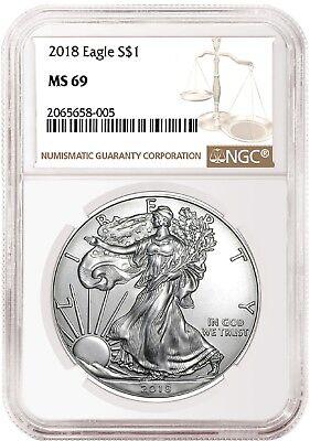 2018 1oz Silver American Eagle NGC MS69 Brown Label Presale