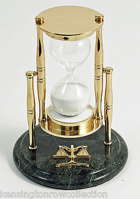 """SANDS OF TIME"" 30-MINUTE HOURGLASS SAND TIMER ON MARBLE BASE - LEGAL - LAWYERS"