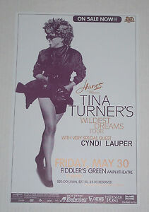 1997 TINA TURNER - WILDEST DREAMS TOUR Concert Poster - CYNDI LAUPER