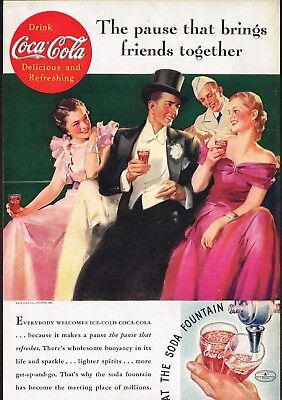 1930s Original Vintage Coca Cola Society Man & Woman Fashion Art Print Ad