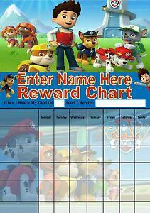 Personalised Paw patrol reward chart/ potty training/ behaviour. Re-useable