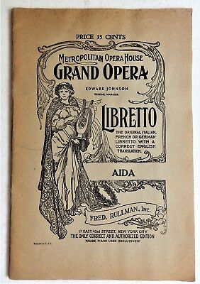 AIDA Verdi libretto Metropolitan Opera House New York City Italian English 1940s